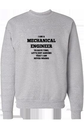 Stylish Engineer Black Print Gray Sweatshirt