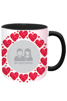 Personalized Heartful Inside Black Mug With Black Handle