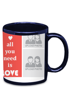 All You Need Is Love Blue Patch Mug
