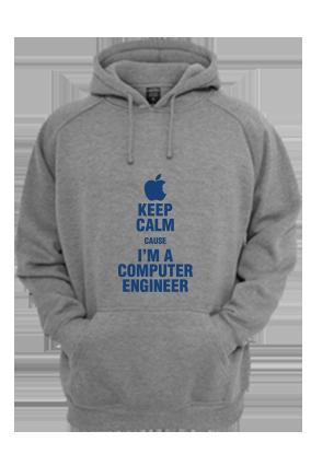 Computer Engineer Blue Print Gray Hoodie
