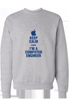 Computer Engineer Blue Print Gray Sweatshirt