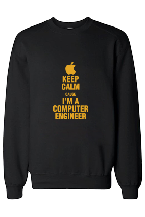 Computer Engineer Yellow  Print Black Sweatshirt