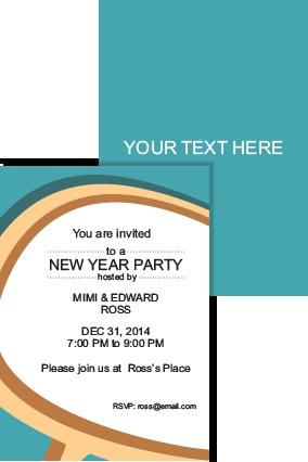 Blue Ocean New Year Invitation Card