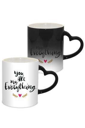 Big Heart Love Valentine Day Heart Handle Black Magic Mug