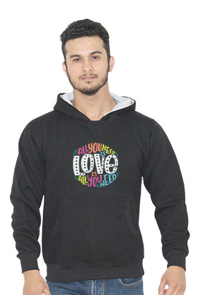 All You Need is Love Full Sleeves Black Hoodie