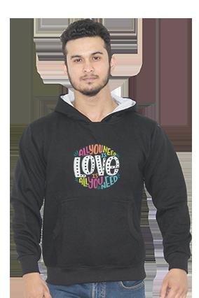 All You Need is Love Full Sleeves Black Hoodie