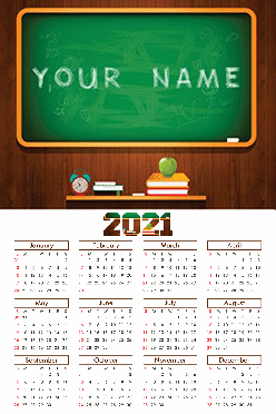 Hand Draw Poster Name In Image Table Calendar (12x18 Inches)