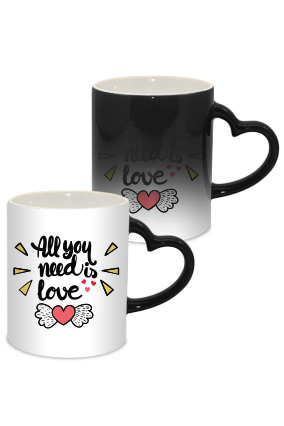 All you need is love Valentine Day Heart Handle Black Magic Mug