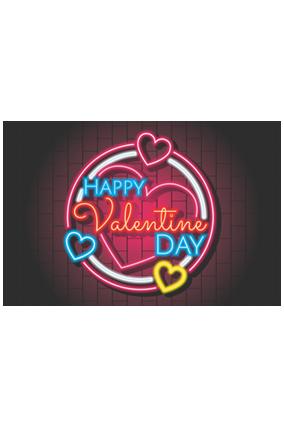 Amazing Neon Valentine Landscape Poster