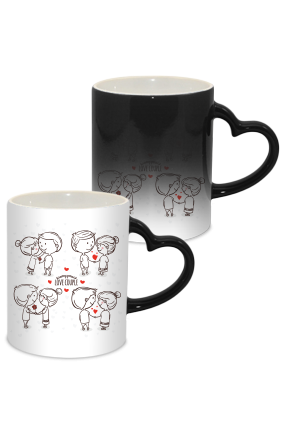 Love Couple Valentine Day Heart Handle Black Magic Mug