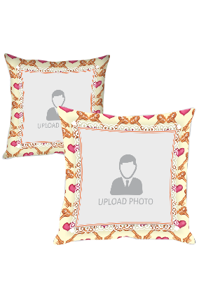 Heart And Key Frame Personalized Printed Cushion Cover