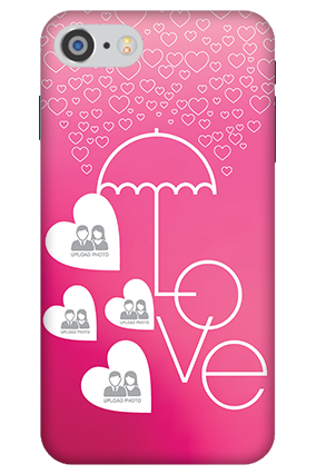 3D - IPhone 7 Pink Colored Valentine's Day Mobile Cover