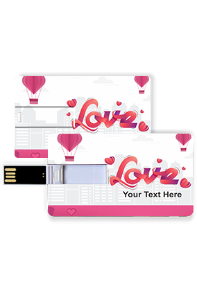 Flying Hearts in Sky  Valentine Credit Card Pen Drive