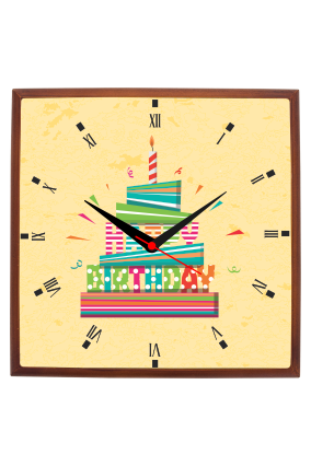 Colorful Birthday Square Wooden Wall Clock
