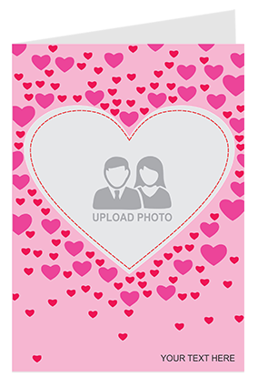 Personalized Pink Hearts Valentine's Day Greeting Card