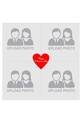 4 Photos Valentines Day Square personalised Canvas Print