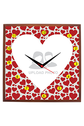 Red Hearts Square Wooden Wall Clock