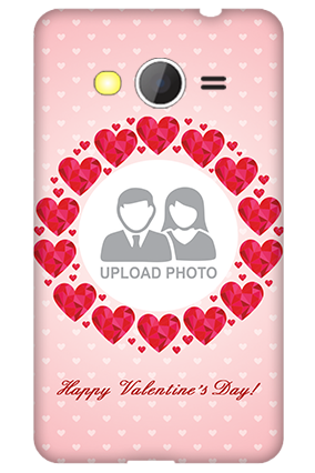 Customized Samsung Galaxy Core 2 Pink Hearts Valentine's Day Mobile Cover
