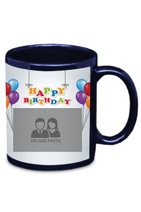 Happy Birthday Blue Patch Mug