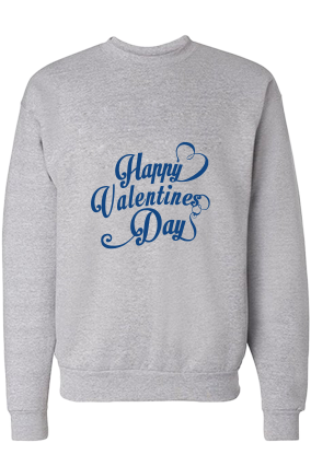 Cool Valentine's Day Blue Print Gray Sweatshirt
