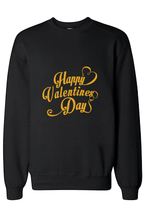 Cool Valentine's Day Yellow Print Black Sweatshirt