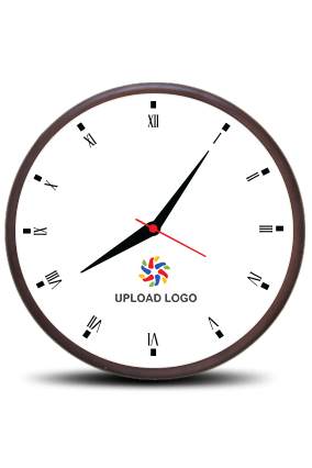 Business Upload Logo Wooden Wall Clock