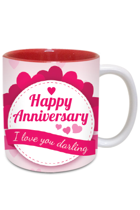 Anniversary Greetings Inside Red Mug