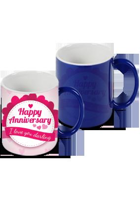 Personalized Anniversary Greetings Blue Magic Mug