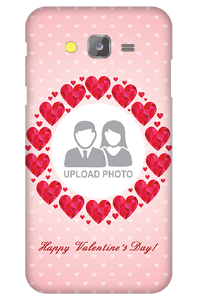 Silicon - Samsung Galaxy J5 Pink Hearts Valentine's Day Mobile Cover