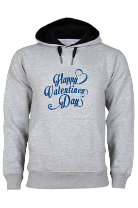 Cool Valentine's Day Blue Print Gray Hoodie