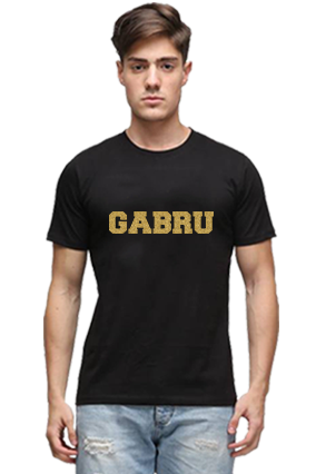 Gabru Golden Glitter Black Round Neck Cotton Effit T-Shirt