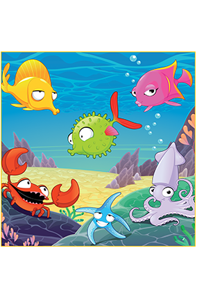 Colourful Fishes Square Canvas Printing