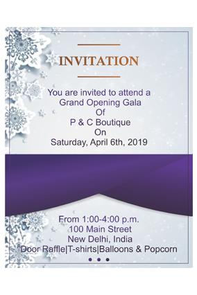 Silver Flower with Purple Potrait Event Invitation Card