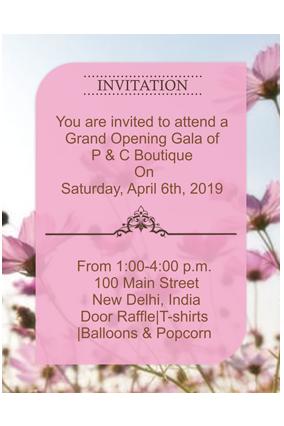 Pink Floral Background Portrait Invitation Card