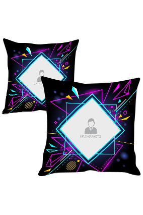 Abstract Neon and Black with Photo Cushion Cover