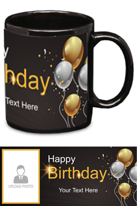 Cute Panda personalized Birthday Black Patch Mug