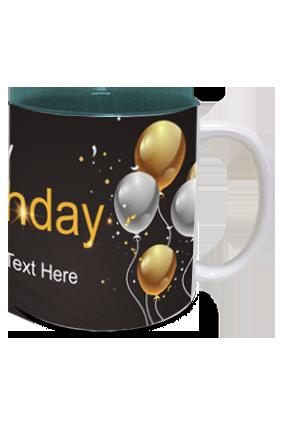 Black and Gold Trendy Birthday Inside Green Mug