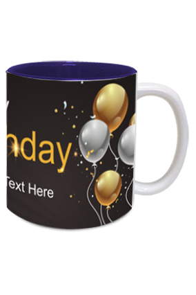 Black and Gold Trendy Birthday Inside Blue Mug