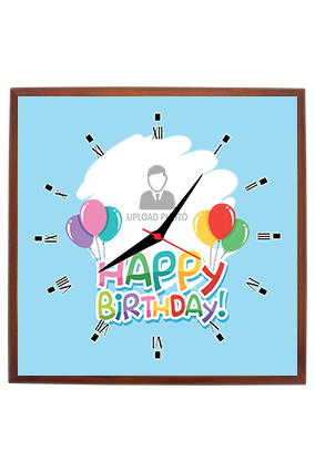 Colorful Balloons Personalized Square Wall Clock For Birthday
