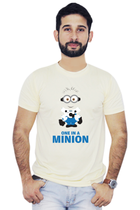 One in a Minion Round Neck Yellow Dri Fit T-Shirt