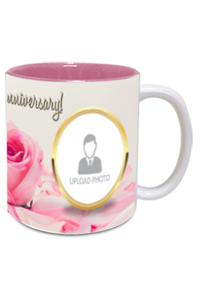 Pink Rose Customized Anniversary Inside Pink Mug