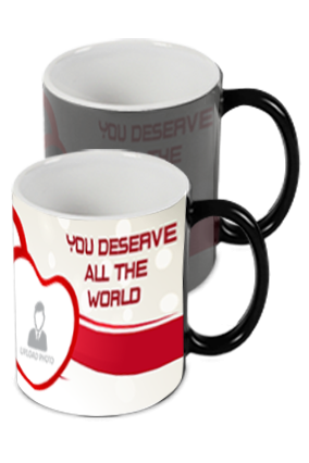 You Deserve All The World Printed Black Magic Mug