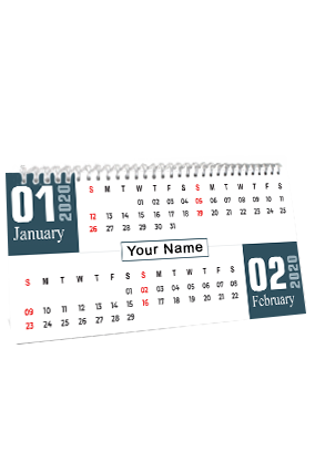 Personalised Sapphire White Desk Photo Calendar(11 x 6 Inches) - 6 Leaves
