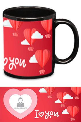 I Love You Black Patch Mug