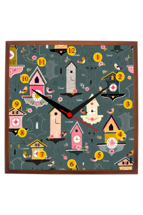 Fancy Time Watch Square Wooden Wall Clock
