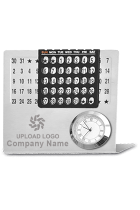 Business Perpetual Calendar with Clock