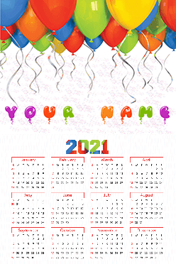 Ballons Poster Name In Image Calendar (12x18 Inches)