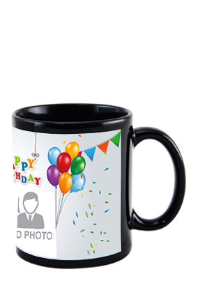 Happy Birthday Black Patch Mug