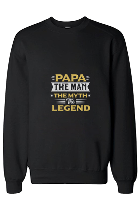 Papa The Legend Cotton Black Sweatshirt
