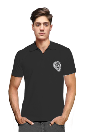 Animal Print Black Cotton Polo T-Shirt